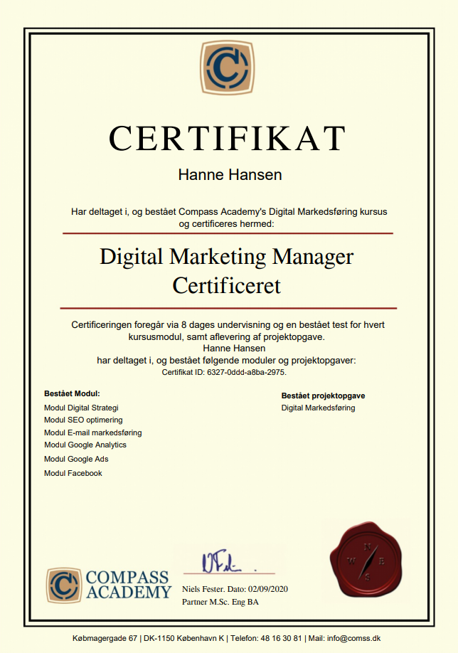 online marketing kursus certifikat