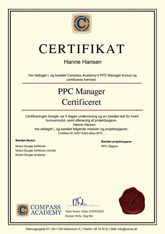 ppc manager kursus certifikat