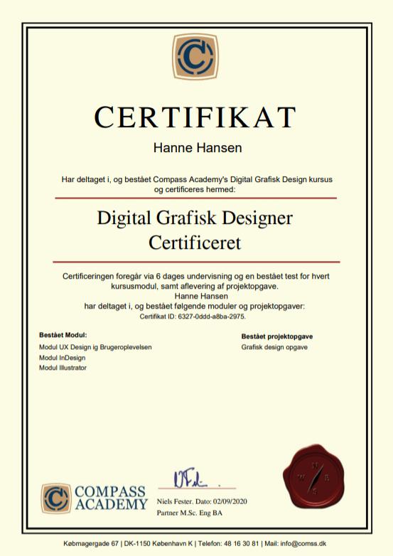 grafisk design kursus certifikat